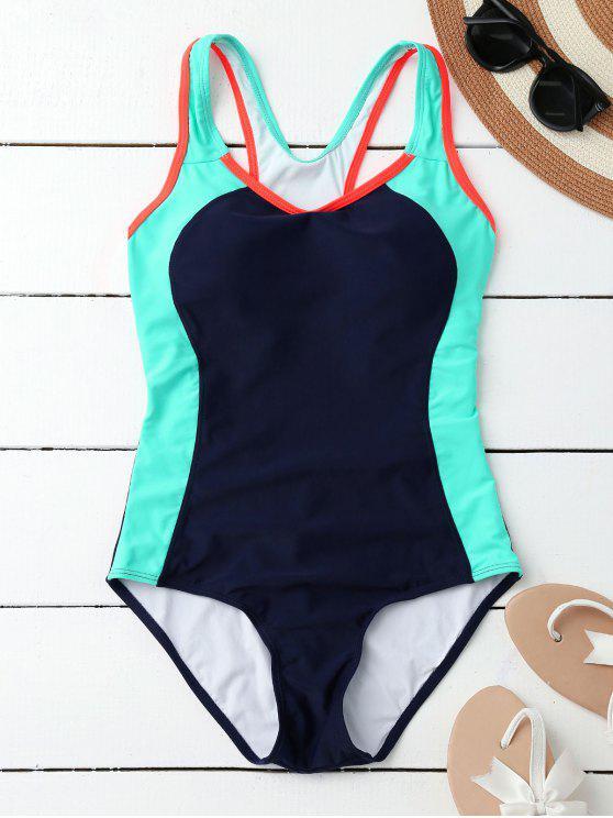 Racerback deportivo adelgazamiento traje de baño de una pieza - Azul Purpúreo S