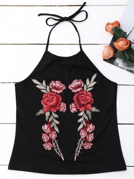 trendy Embroidered Rose Halter Tank Top - BLACK M