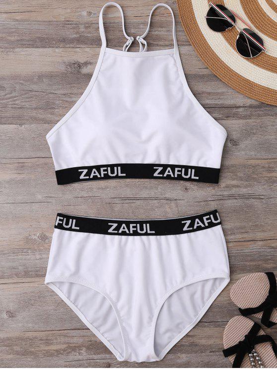 trendy High Neck Logo Band Bikini Set - WHITE S