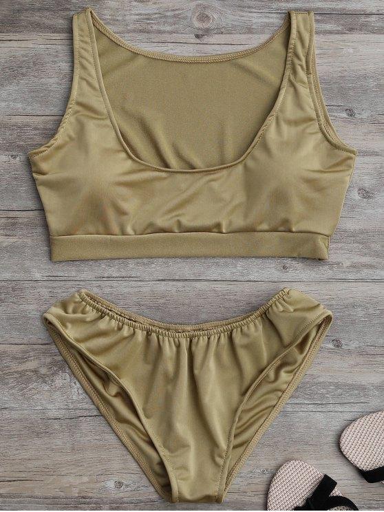fancy Padded U Neck Bathing Suit - KHAKI S