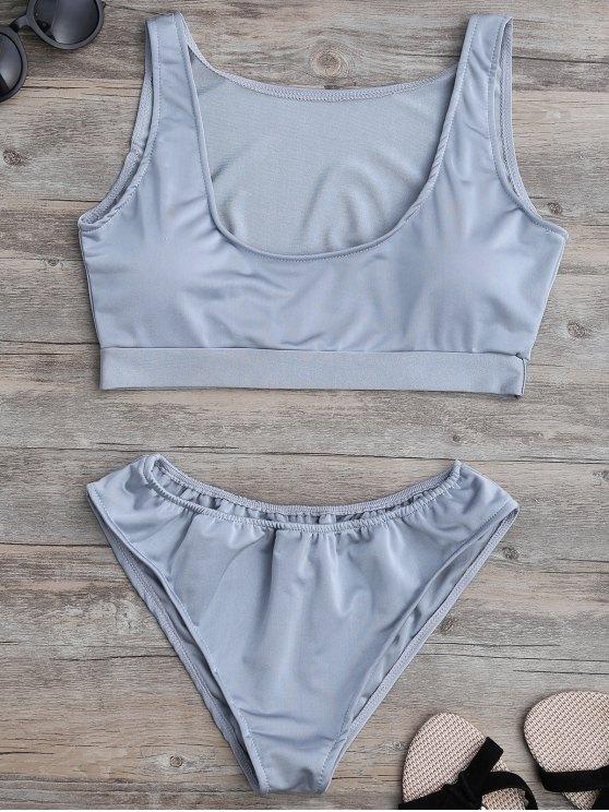 unique Padded U Neck Bathing Suit - GRAY L