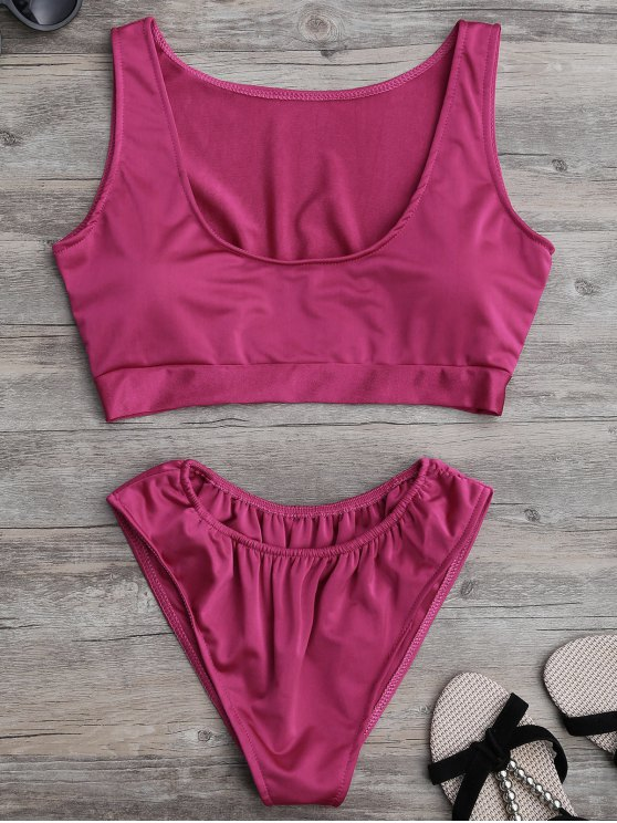 womens Padded U Neck Bathing Suit - ROSE MADDER M