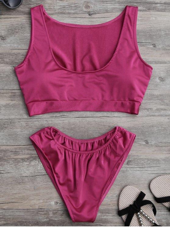 women Padded U Neck Bathing Suit - ROSE MADDER S