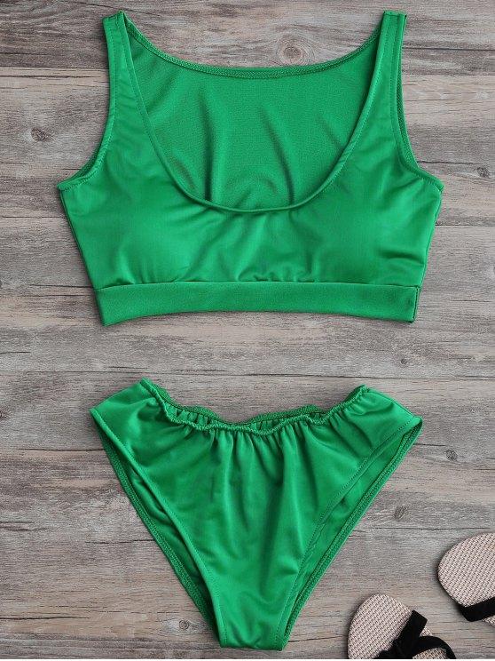 ladies Padded U Neck Bathing Suit - GREEN M