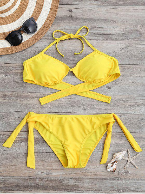 hot Tie Back Padded Bathing Suit - YELLOW S