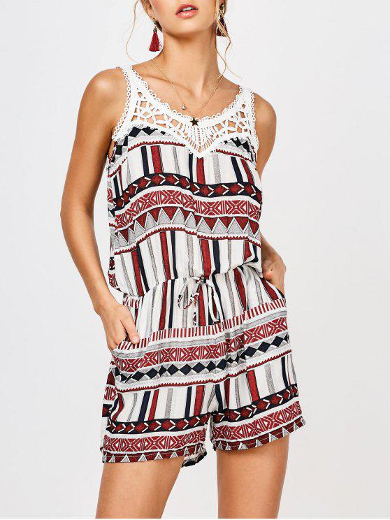 Geometric Belted Lace Trim Romper - Multicolore L