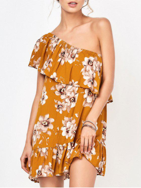 fashion One Shoulder Floral Mini Dress - FLORAL S