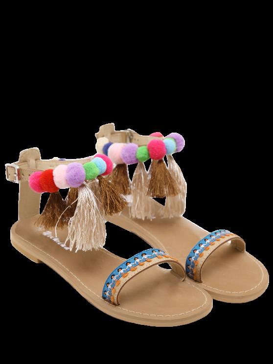 Chaussures à semelle à cheville Pompon Tassels Sandals - Abricot 37
