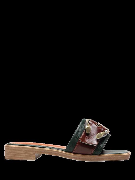 Faux cuero color bloqueo hebilla correas zapatillas - Verde negruzco 38