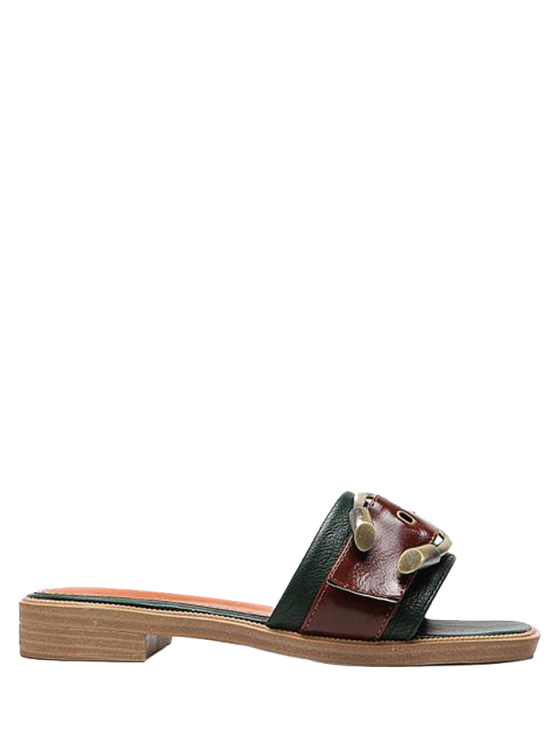 Faux cuero color bloqueo hebilla correas zapatillas - Verde negruzco 39