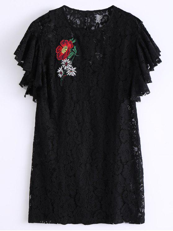 shop Ruffles Embroidered Lace Dress - BLACK M