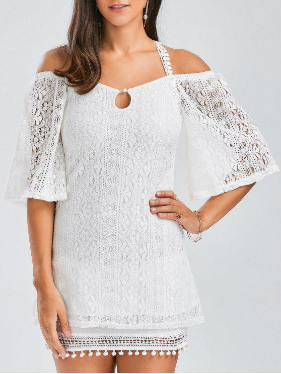 fashion Backless Criss Cross Lace Tunic Top - WHITE L
