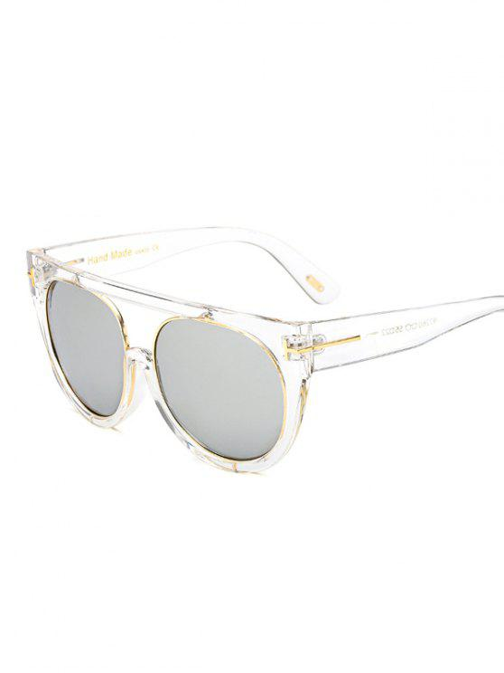 Transparent Frame Crossbar Flat Top Reflective Sunglasses NICKEL ...