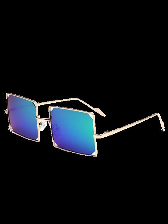 Scavi fuori Obiettivo rispecchiato rettangolo occhiali da sole in metallo - Ora Cornice + Verde Lente
