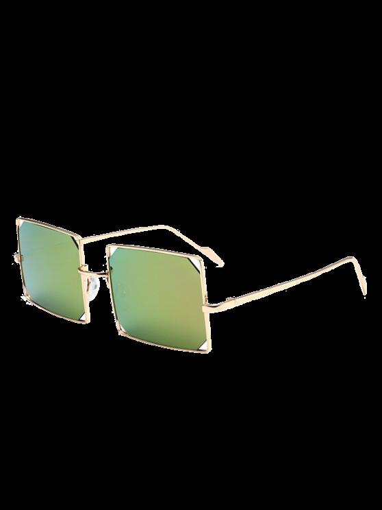 Scavi fuori Obiettivo rispecchiato rettangolo occhiali da sole in metallo - verde