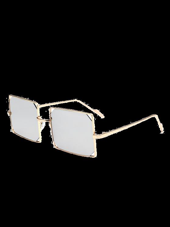 مجوفة خارج عدسة مستطيلة مستطيل النظارات المعدنية - الذهب الإطار + فضة عدسة
