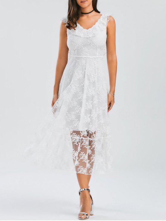 Open Back Lace Tüll schnüren sich oben Kleid - Weiß M