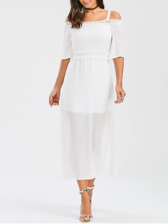 best Spaghetti Straps Cold Shoulder Chiffon Dress - WHITE S