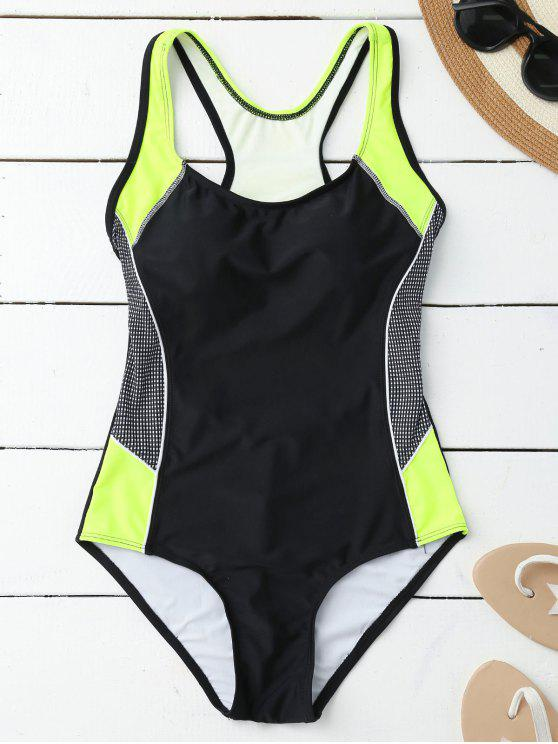 affordable Contrasting Tummy Control One Piece Swimsuit - BLACK L