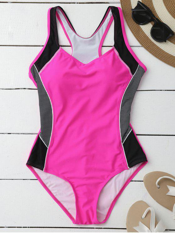 best Contrasting Tummy Control One Piece Swimsuit - ROSE XL