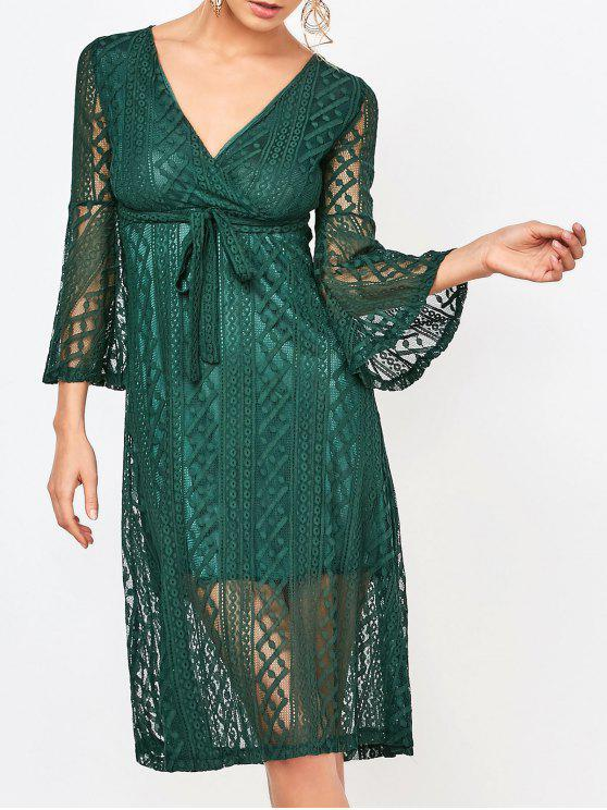 unique Empire Waist Surplice Lace Dress - DEEP GREEN L