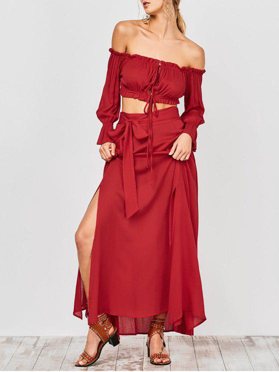 fancy Cropped Off The Shoulder Top and Belted Slit A-Line Skirt - RED L