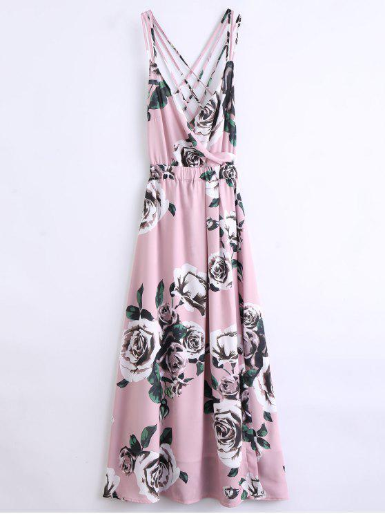 new Floral Strappy Beach Dress - PINK L