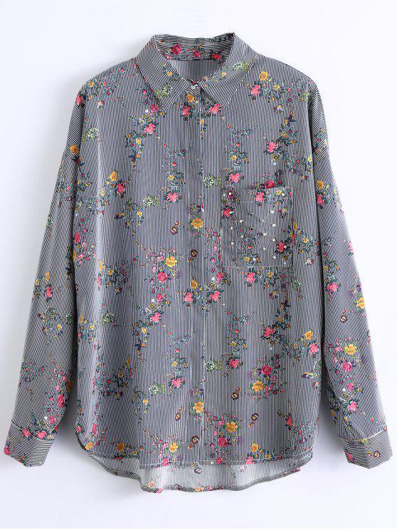 ladies Stripes Floral Shirt - BLACK S