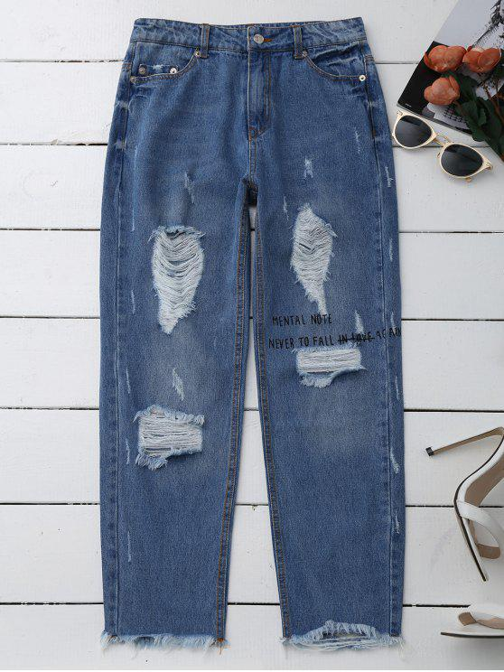 fashion Distressed Graphic Boyfriend Jeans - DENIM BLUE XL