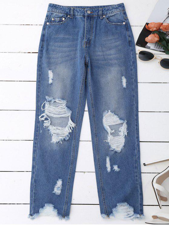 Pantalones vaqueros desgastados crudos del dobladillo - Denim Blue L