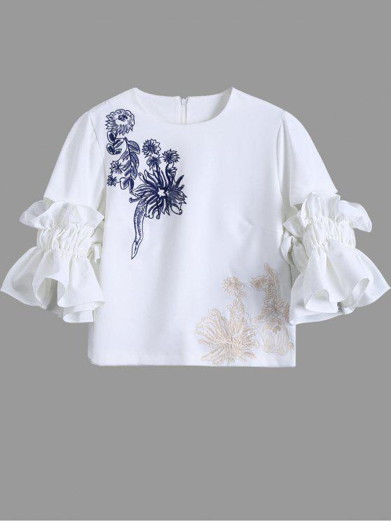 latest Embroidered Ruffle Sleeve Blouse - WHITE L