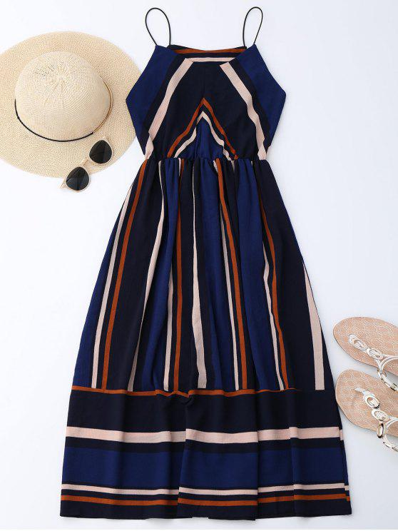 best Multi Stripe Cami Midi Sundress - STRIPE L