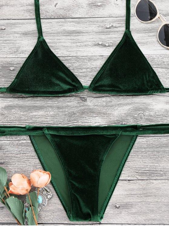 60 Off 2019 Halter Velvet Thong Bikini Set In Green M Zaful