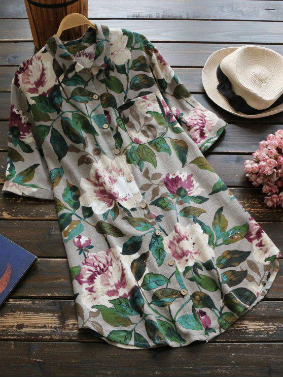 chic Floral Short Sleeve Linen Shirt - DEEP GRAY ONE SIZE
