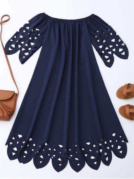 ladies Off The Shoulder Flared Dress - PURPLISH BLUE S