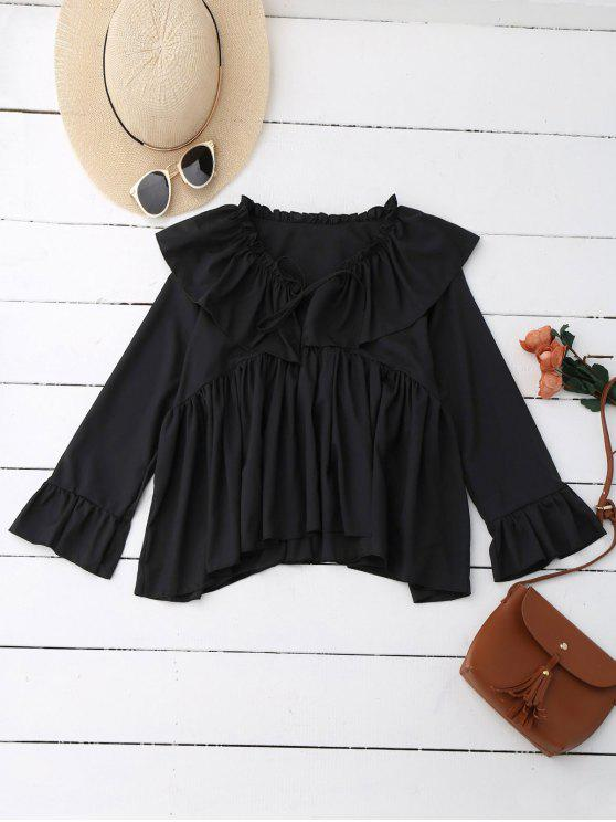 best Ruffle Tie Neck Flare Sleeve Oversized Blouse - BLACK M