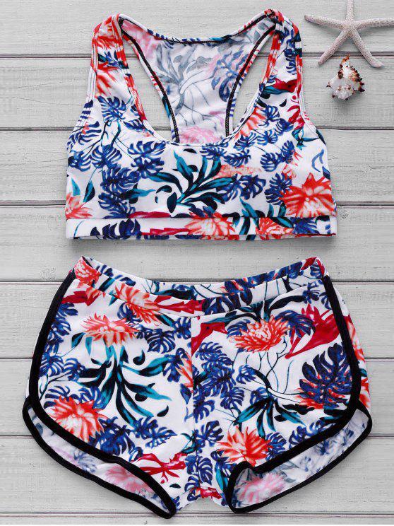 Bikini avec haut imprimée et bas de boyshorts - Floral XL