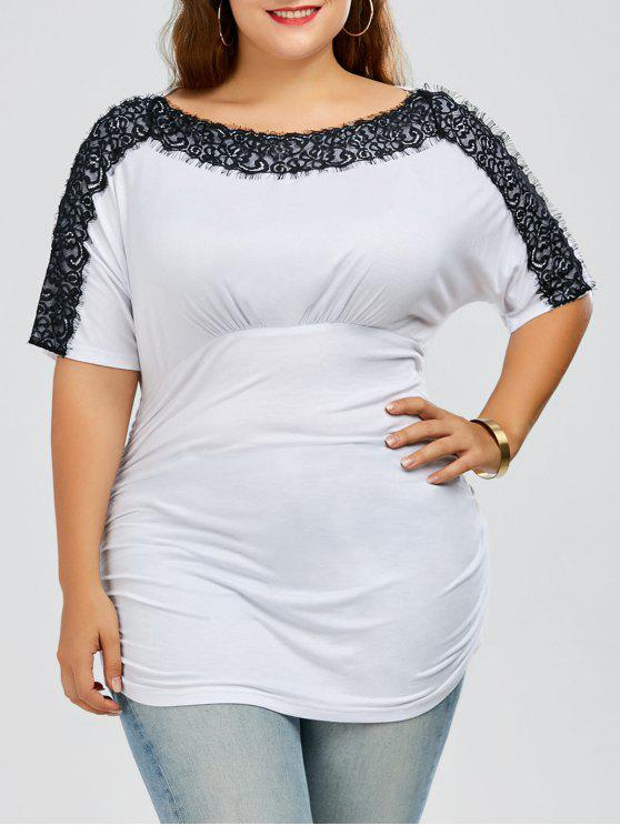 latest Plus Size Lace Trim Ruched T-Shirt - WHITE 5XL