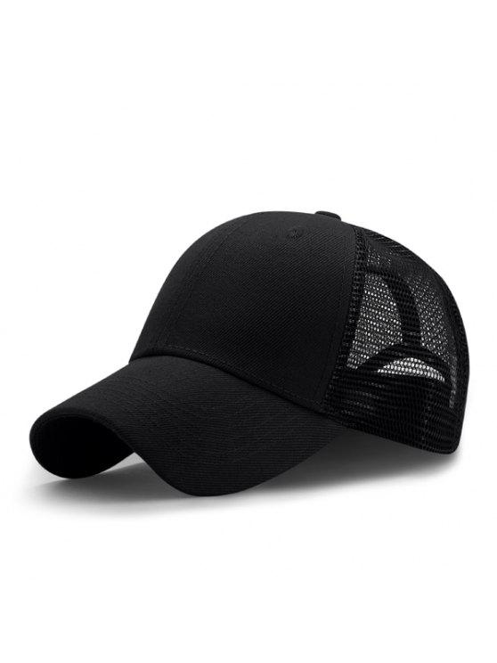 قبعة بيسبول قابلة للتهوية بتداخل شبك - أسود