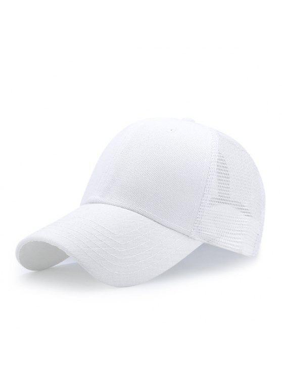 قبعة بيسبول قابلة للتهوية بتداخل شبك - أبيض