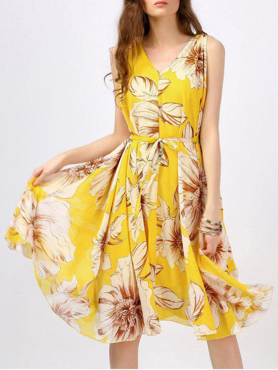 فستان بوهيمي طباعة الأزهار بخط A - الأصفر L