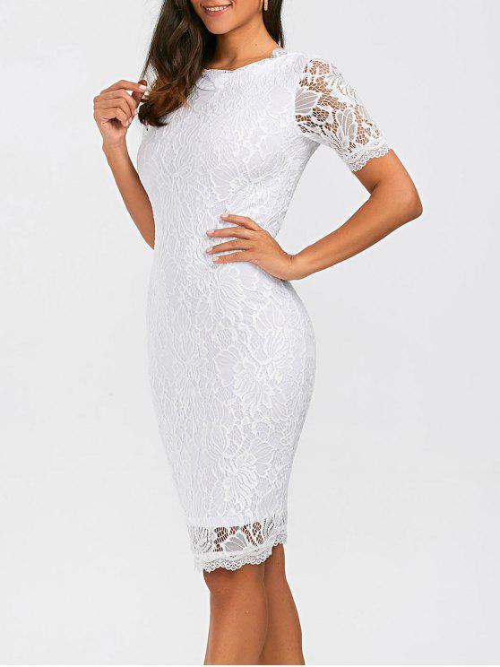 فستان ضيق ملائم ركبة الطول طباعة الأزهار دانتيل - أبيض L