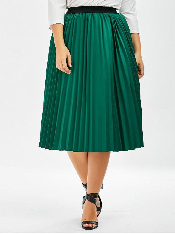3621681751 37% OFF] 2019 Plus Size Sparkly Midi Pleated Skirt In GREEN | ZAFUL