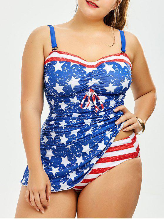 2732a0ffff Patriotic American Flag Print Plus Size Blouson Tankini - Blue 5xl