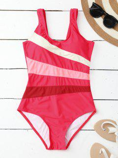 Stripes Slimming One Piece Swimsuit - Rose Xl
