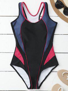 Maillot De Bain à Une Pièce à Trois  Couleurs à Style Sportif - Noir Et Rose Rouge L