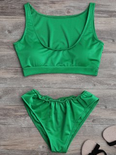 Padded U Neck Bathing Suit - Green M