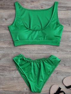 Bañador Acolchado Con Cuello En U - Verde S