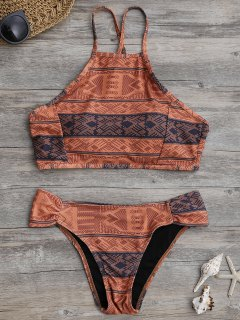 High Neck Aztec Print Bikini Set - Laterite M