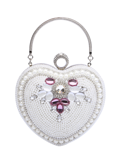 Beaded Heart Shaped Evening Bag - White